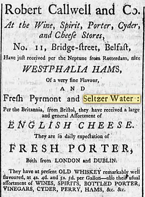 Carbonated water - Belfast Evening Post, Belfast, Ireland, August 7, 1786