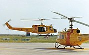 Canadian Forces Base Rescue Moose Jaw CH-118 Iroquois helicopters 118109 and 118101 at CFB Moose Jaw, 1982