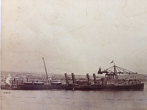 SS Ben-my-Chree (1875) - Ben-my-Chree berthed at the Victoria Pier, Douglas.