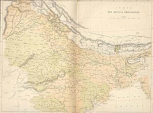 Chota Nagpur Division - 1858 map of the Bengal Presidency with the 'South-West Frontier States' in the SW