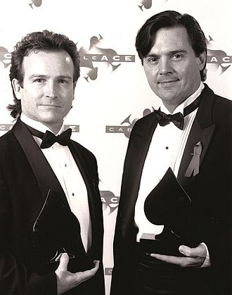 """Benny Hester - Hester receiving a Cable Ace Award for Original Song, """"I Can Dream"""", with co-writer Sheffield, 1993"""