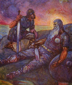 The Dragon (Beowulf) - Wiglaf is the single warrior to stay and witness the death of the hero. Illustration by J.R. Skelton.