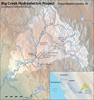 Big Creek Hydroelectric Project - Map showing primary reservoirs and power plants of the Big Creek Project (many small diversion dams not shown)