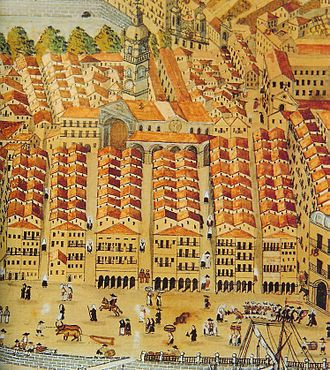 Bilbao - Engraving depicting the city in the 18th century.