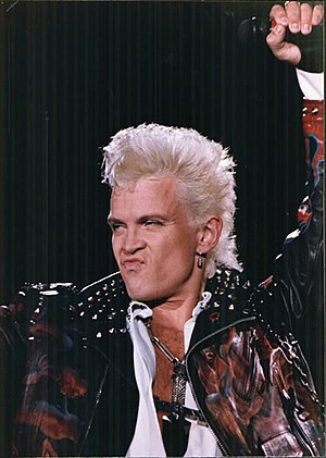 Billy Idol - Idol performing during the Cradle of Love Tour, 1990