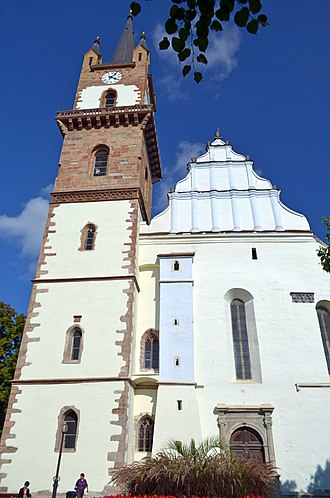 Bistrița - The renovated Evangelical Church, whose roof was heavily damaged in a fire in 2008