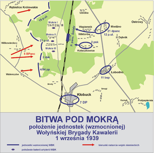 Battle of Mokra - Polish map of the Battle of Mokra; In blue - position of the units of Volhynian Cavalry Brigade on 1 September 1939. Red - the German attack.