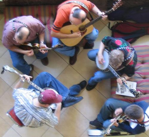 Bluegrass artists use a variety of stringed instruments. Bluegrass group jamming.jpg