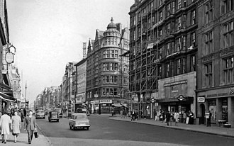 Oxford Street - View west down Oxford Street in 1961, outside Bond Street tube station