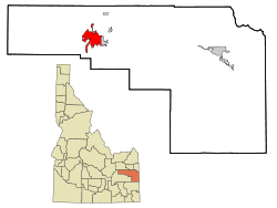 Bonneville County Idaho Incorporated and Unincorporated areas Idaho Falls Highlighted.svg