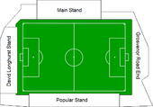 Diagram showing the composition of the Bootham Crescent association football ground