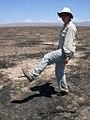Botanist surveying area burned by wildfire in desert has boot soles melt off.jpg