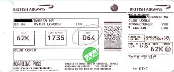 English: A boarding pass from British Airways,...