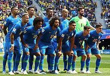 617396f832a Brazil team photograph prior to their group game against Costa Rica at the  2018 FIFA World Cup