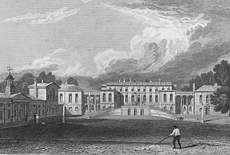 Bramham Park - Bramham Park from Jones's Views of the Seats of Noblemen and Gentlemen (1829). A carriage ramp on the entrance facade conveys visitors to the principal entrance on the piano nobile.