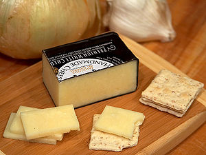 Cheddar cheese from Bravo Farms, Traver, Calif...