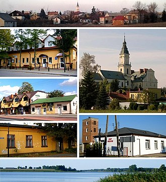 Brdów - panorama of Brdów/health center/church of St. Adalbert/center of Brdów/cultural building/fire department/Brdowskie Lake