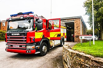 Staffordshire Fire and Rescue Service - A Scania P94D appliance outside Brewood Fire Station in October 2015
