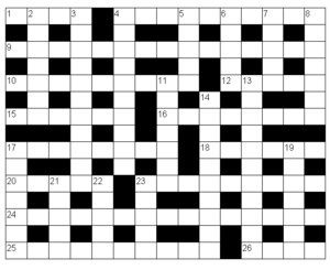 Sample British-style crossword grid