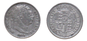 Sixpence (British coin) - 1816 sixpence, showing the post-recoinage design.