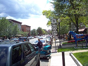 New York State Route 50 - US 9, NY 50 and NY 29 concurrent through downtown Saratoga Springs