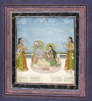 Muddupalani - Brooklyn Museum - Krishna and Radha Seated on a Terrace