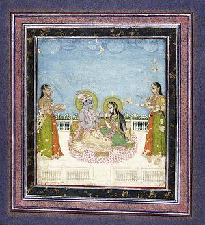 Muddupalani - Brooklyn Museum - Krishna and Radha Seated on a Terrace
