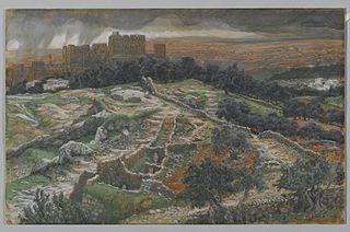 Reconstitution du Golgotha et du Saint-Sépulcre. Vu des murs de la porte judiciare. [Calvaire.]