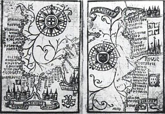 Brouscon's Almanach of 1546: Compass bearings of high waters in the Bay of Biscay (left) and the coast from Brittany to Dover (right). Brouscon Almanach 1546 Compass bearing of high waters in the Bay of Biscay left Brittany to Dover right.jpg