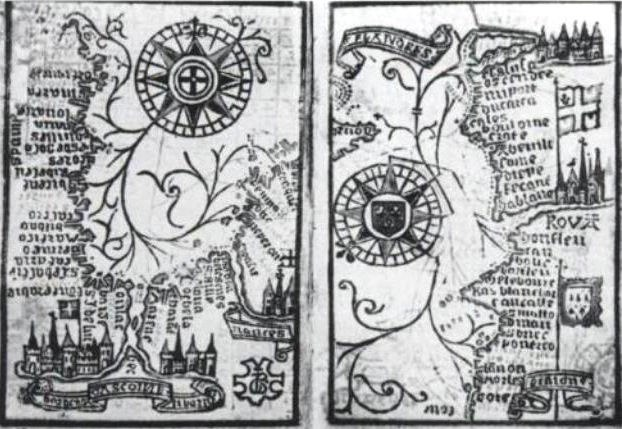 Brouscon Almanach 1546 Compass bearing of high waters in the Bay of Biscay left Brittany to Dover right