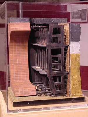 Thames Tunnel - A scale model of the tunnelling shield at the Brunel Museum at Rotherhithe