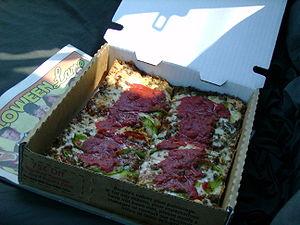 Detroit-style pizza - Four slices of Detroit-style pizza