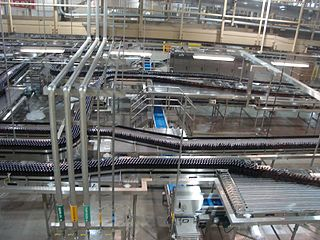 production line that fills a product, generally a beverage, into bottles on a large scale