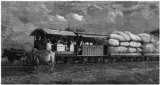 Gaekwar's Baroda State Railway - Bullocks hauled train on 2 feet 6 inches wide 3 lbs rail connecting Dabhoi with Miagam