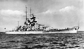 German battleship Gneisenau - Gneisenau after her second bow alteration in 1942.