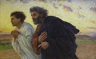 The disciples Peter and John running to the tomb on the morning of the resurrection