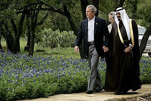 Holding hands - George W. Bush and future King Abdullah of Saudi Arabia holding hands struck a nerve with the American people.