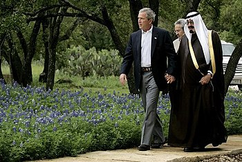 George W Bush and King Abdullah of Saudi Arabi...