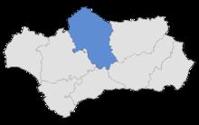 Posizione de la provincia di Cordova nell'Andalusia