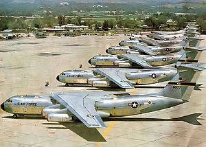 "Norton Air Force Base - New 63d MAW C-141As on the ramp at Norton AFB, 1967.  Serial 66-0177 is in foreground.  This aircraft will become the ""Hanoi Taxi"" and today is on permanent display at the National Museum of the United States Air Force"