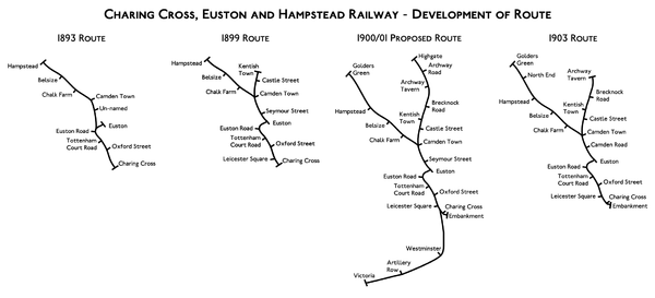 Four maps showing progressive development of the Charing Cross, Euston and Hampstead Railway's planned route between 1893 and 1903.