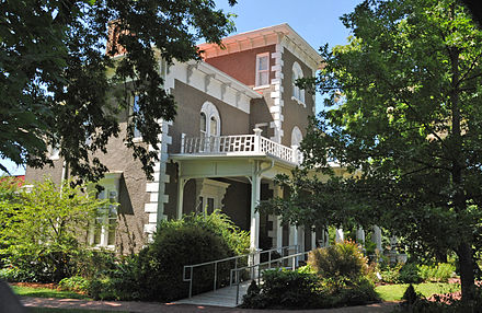 Peel Mansion, built in 1875, is now furnished with period pieces and offers tours and rentals for private events, such as weddings. COL. SAMUEL W. PEEL HOUSE, BENTONVILLE, BENTON COUNTY, AR.jpg