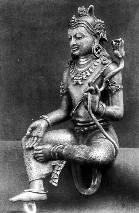 COLLECTIE TROPENMUSEUM Zilveren Manjusri beeld afkomstig uit Ngemplak Semongan TMnr 10016132