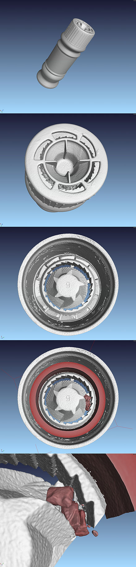 3D reconstruction of a disposable grinder with grinder made of plastic, from CT-data - Burr mill