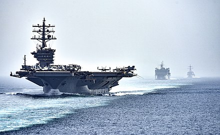 U.S. Navy convoy in the Strait of Hormuz on July 21, 2016 CVN 69 transits the Strait of Hormuz (28465403076).jpg