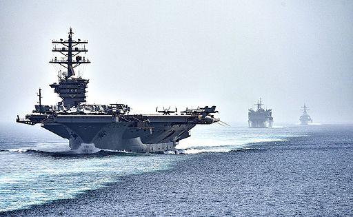 CVN 69 transits the Strait of Hormuz (28465403076)