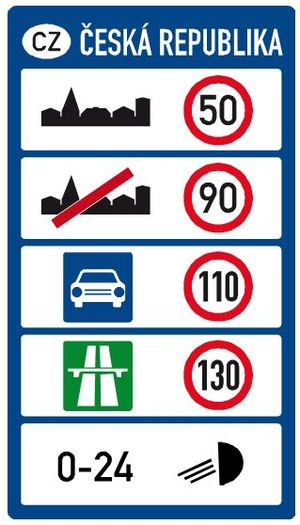 Highways in the Czech Republic - Border road sign with general speed-limits in the Czech Republic