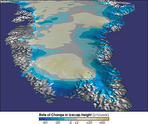 Geography of Greenland - Map of Greenland's rate of change in Ice Sheet Height.
