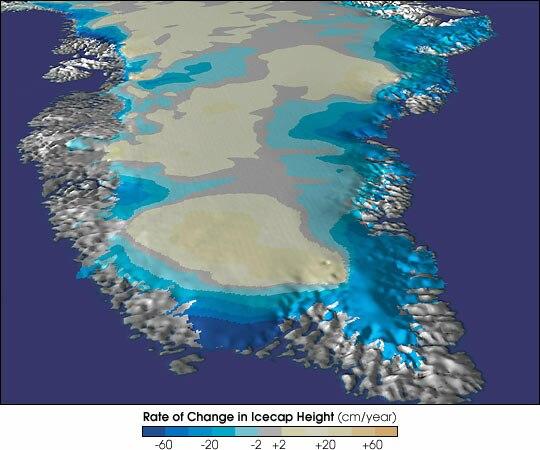 Cambios en la capa de hielo de Groenlandia