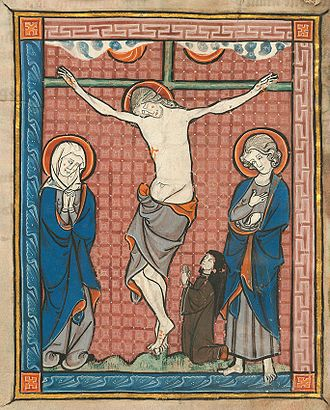 Joan, Countess of Flanders - A Cistercian nun praying at the foot of the Cross. Manuscript of the 13th century that belonged to the Cistercian Abbey of Marquette-lez-Lille. Bibliothèque municipale de Cambrai, ms. 99.